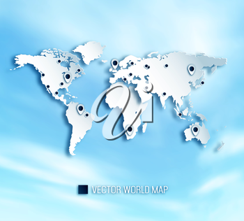 3D World Map With Shadows And Marks On A Cloud Sky Background