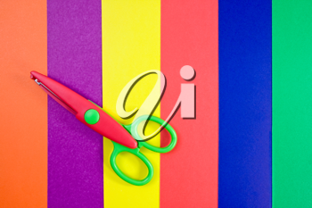 Royalty Free Clipart Image of Scissors on Paper