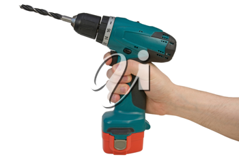 Royalty Free Photo of a Person Holding a Cordless Drill