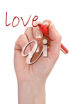 Royalty Free Photo of a Hand Writing Love
