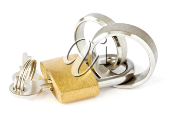 Together forever concept. golden padlock with wedding rings on white background