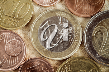 Euro coins currency of the European union.Vintage tone and grain.