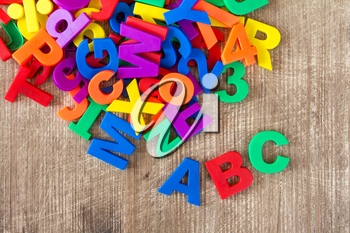 Set of plastic colorful letters and numbers