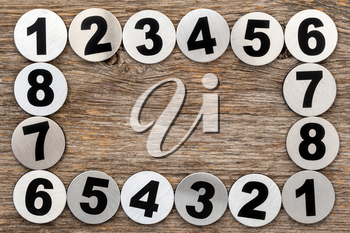 Metal numbers frame with old wood background. Copy space for text or advertisement