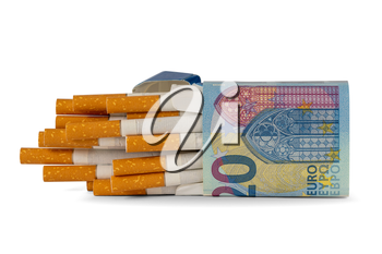 Package of cigarette wrapped in a 20 Euro banknote. Expensive bad  habit.