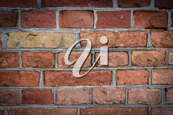 Background of old vintage brick wall. Red brick wall texture grunge background
