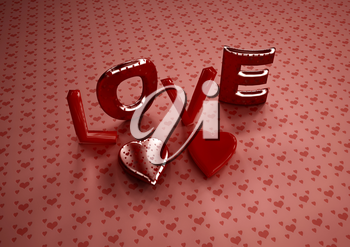 Dimensional inscription of LOVE and hearts near it. 3D illustration.