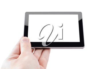 Modern tablet device in hand over white background
