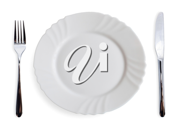 White dining plates and silverware on white background
