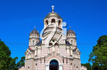 Beautiful orthodox cathedral in the Riga city, Latvia