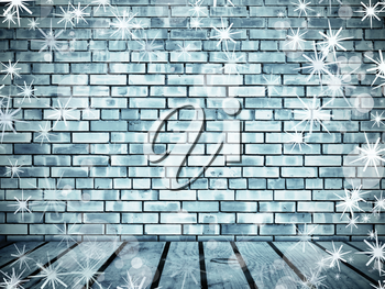 Wall from frozen bricks and wooden floor wth snowflakes