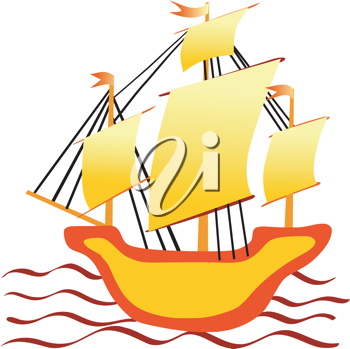 Royalty Free Clipart Image of a Sailboat