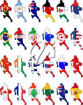 Royalty Free Clipart Image of a Variety of Basketball Silhouetted Players with International Flag Designs