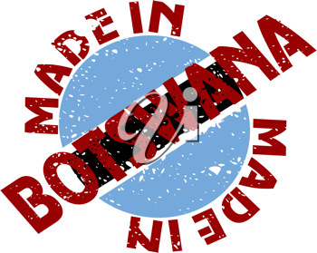 Royalty Free Clipart Image of a Label with Made in Botswana
