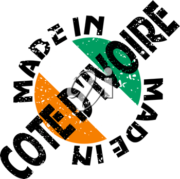 Royalty Free Clipart Image of a Label of Made in Cote D'Ivoire