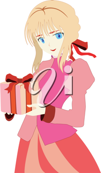 Royalty Free Clipart Image of an Anime Girl with a Gift