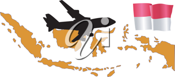 Royalty Free Clipart Image of a Plane Over Indonesia