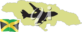 Royalty Free Clipart Image of a Plane Over Jamaica