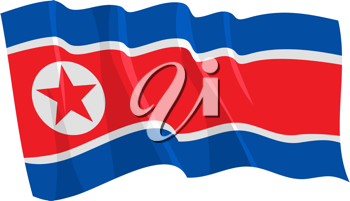 Royalty Free Clipart Image of the North Korea Flag