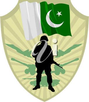 Royalty Free Clipart Image of a Crest with a Soldier and a Pakistan Flag