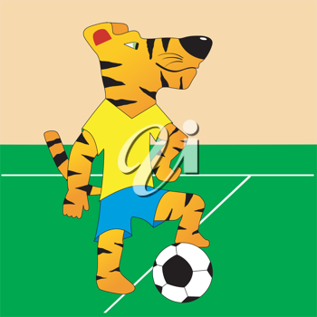 Royalty Free Clipart Image of a Tiger Playing Soccer