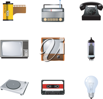 Royalty Free Clipart Image of a Set of Vintage Technology