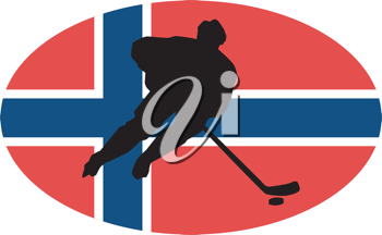 hockey player on background of flag of Norway