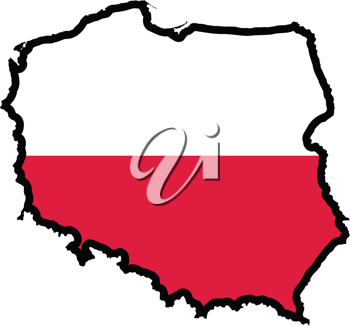 An illustration of map with flag of Poland