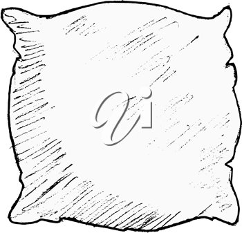 hand drawn, vector, sketch illustration of pillow