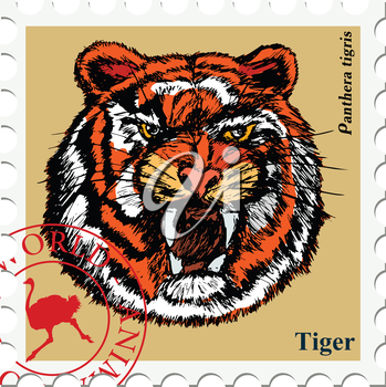 vector, post stamp with tiger