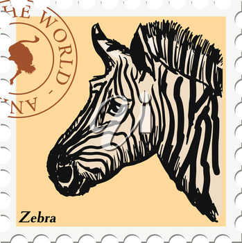 vector, post stamp with zebra