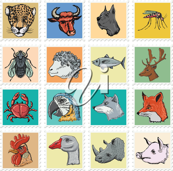 animal stamps with crab, wolf, deer and other animals