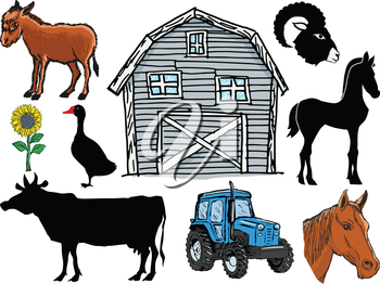 set of farm animals and objects