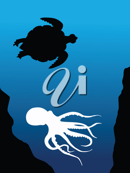 silhouette of composition with underwater animals