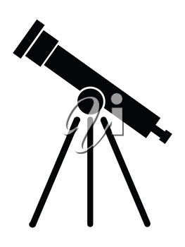 silhouette of telescope, science research motive