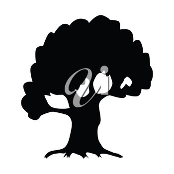 silhouette of oak, motive of clear nature