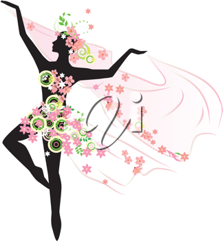 Royalty Free Clipart Image of a Silhouette Dancer With Flowers