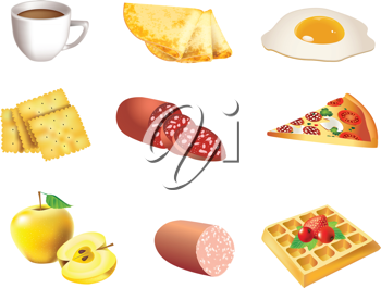 Royalty Free Clipart Image of a Set of Food