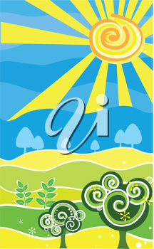 Royalty Free Clipart Image of a Decorative Summer Landscape