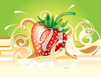 Royalty Free Clipart Image of Strawberry and Cream