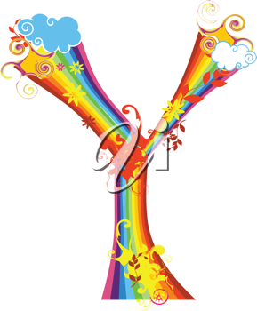 Royalty Free Clipart Image of a Rainbow Letter