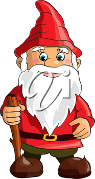 Cartoon gnome on white background. Vector
