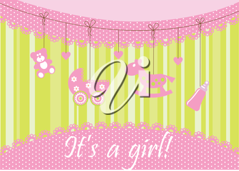 Royalty Free Clipart Image of a Birth Announcement for a Girl