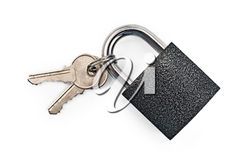 Black padlock with keys isolated on a white background