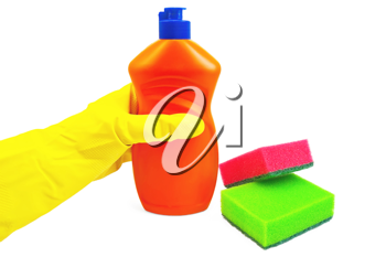 A bottle of orange with a detergent, hand in glove yellow, two sponges of green and red colors isolated on white background