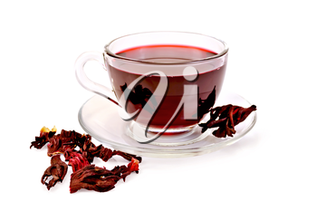 Hibiscus tea in a glass cup, dry petals tea isolated on white background