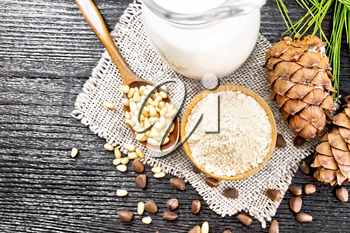 Cedar flour in a bowl, nuts and two cones, spoon with peeled nuts on burlap napkin, a green branch and cedar milk in a jug on black wooden board background from above