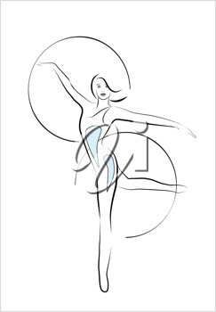 Royalty Free Clipart Image of a Girl With Gymnastic Hoops