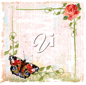 Royalty Free Clipart Image of a Rose and Butterfly Frame