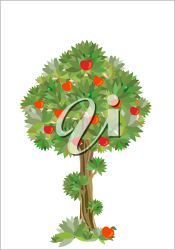 Royalty Free Clipart Image of an Apple Tree
